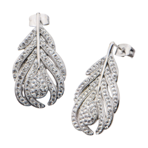 Stainless Steel and Crystal Leaf Post Back Earrings