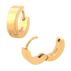 Ip Gold Stainless Steel Huggie Earrings