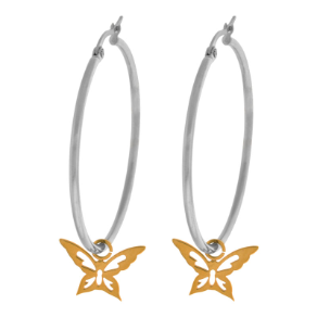 Stainless Steel 40mm Hoop Earrings From Inox