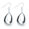 40mm Stainless Steel French Wire Oval Hoop Earring