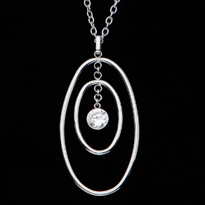"24+2"" Inox Stainless Steel Oval CZ Pendant and Chain"