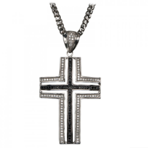"Inox 30"" Stainless Steel CZ Cross Pendant with Available Chain"