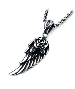 Inox Black Oxidized Stainless Steel Feather w/ a Rose Pendant & Chain