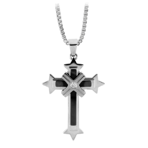 Stainless Steel and PVD Black Cross Pendant w/ CZ from Inox