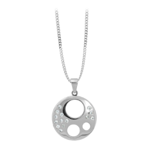 Inox Stainless Steel Circle Pendant with CZs