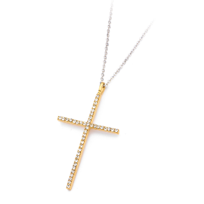 "16+2"" Ip Gold Stainless Steel and CZ Cross Pendant & Chain"