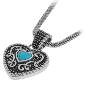 Inox Heart Shaped Turquoise Stainless Steel Pendant