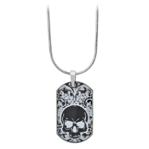 Stainless Steel Dog Tag Pendant with Skull from Inox