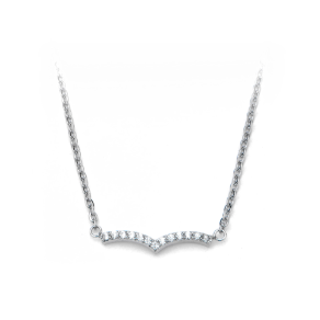 "16+2"" Stainless Steel and CZ Chevron Design Necklace"