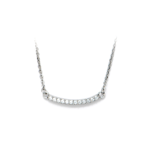 "16+2"" Inox Stainless Steel and CZ Curved Bar Necklace"