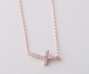 "16"" Rose Gold Vermeil Cz Studded Small Curved Sideways Cross Necklace"