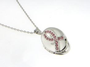 Rhodium Plated Breast Cancer Awareness Locket and Chain