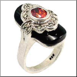 Marcasite Black Onyx and Garnet CZ Sterling Silver  Ring