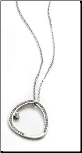 "15.5"" +2.5"" ext  Steelx Stainless Steel Oval CZ Pendant and Chain"