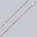 "16"" Two-tone Rose Gold&Sterling Silver Rolo Chain w/ Hexagon Beads"