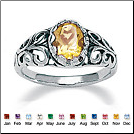 Oval Stone CZ Sterling Silver Ring