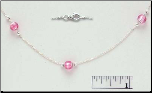 "16 + 2"" Sterling Silver and Pink Venetian Glass Necklace"