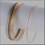 1.1mm Sterling Silver Textured Wire Slip-on Bangle Bracelet in 3 Colors