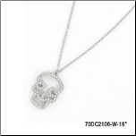 "16"" Stainless Steel and CZ Skull Pendant and Chain"