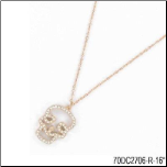 "16"" Rose Gold Stainless Steel and CZ Skull Pendant & Chain"