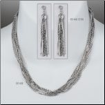Sterling Silver 10 Strand Snake Chain Earring & Necklace Set