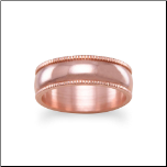 His & Hers 6 mm Solid Copper Ring with Milgrain Edges