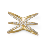 "Gold Over Sterling Silver 3 Row Criss Cross ""X"" Ring"