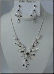 Mesh Flower Necklace Set with Black Swarovski Crystals