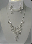 White Gold Rhodium & Swarovski Crystal Necklace & Earring Set