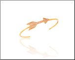 Rose Gold Vermeil and Arrow CZ Cuff Bangle Bracelet