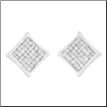 Micro Pave Sterling Silver and CZ Kite Earrings