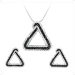 Sterling Silver Black & White CZ Triangular Pendant and Earring Set