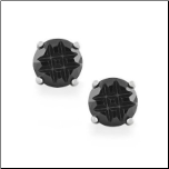Black CZ Stud Earrings w/Invisible Setting