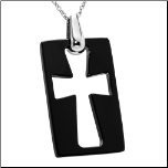 "16+1.5"" Laser-cut Black Ceramic Cross & Stainless Steel Chain"