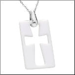 "161.5"" White Ceramic Dog Tag Pendant with Pectoral Cross and Chain"