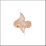 Rose Gold Over Sterling Silver 4 Row CZ Bypass Ring