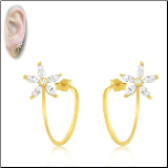 Gold Vermeil and CZ Flower Post Back Earrings