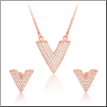 Rose Gold Vermeil and CZ Geometric Triangle Earrings and Neckace Set