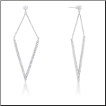 1.2 CT White Gold Rhodium Pointed Statement Earrings