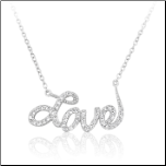 "16 + 2"" Sterling Silver and CZ Love Necklace"