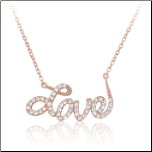 "16"" + 2"" Rose Gold Vermeil and CZ Love Necklace"