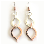 Dangling Handmade Copper and Silver Plated Earrings