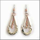 Copper, Silver Plate and Stainless Steel Dangling Earrings