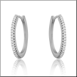 19mm Sterling Silver and CZ Hinged Hoop Earrings