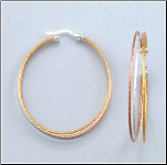 50MM Sterling Silver 3 Tone Hoops