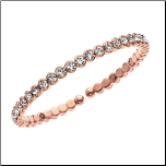 14K Rose Gold and Crystal  Honeycomb Cuff Bangle Bracelet