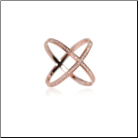 "Rose Gold Vermeil (Rose Gold Over Sterling Silver) and CZ ""X"" Ring"