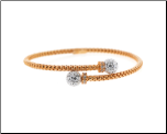 "7.25"" Flexible Rose Gold Vermeil and CZ Bangle Braclet"