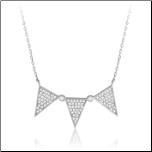 "15+2"" Sterling Silver and CZ Triple Triangle Necklace"