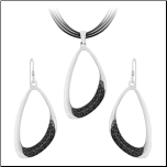 Sterling Silver and Black CZ Earring and Pendant Set